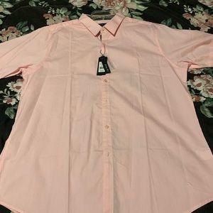 Men's pink button down dress shirt.